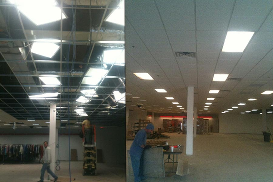 commercial ceiling cleaning before and after